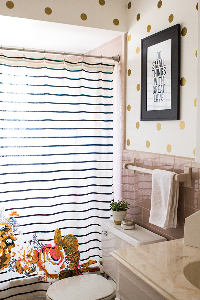 Gold Polka Dot Walls in Guest Bathroom