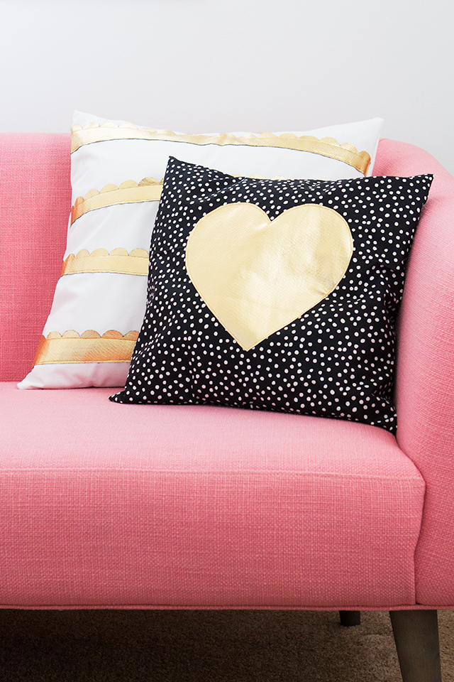 Diy Gold Throw Pillow : Sarah Hearts - Gold Heart and Scalloped DIY Pillows